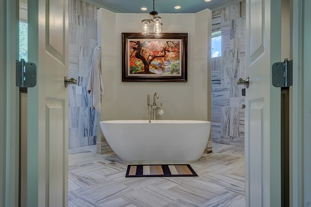 A bathtub placed in a well-decorated bathroom