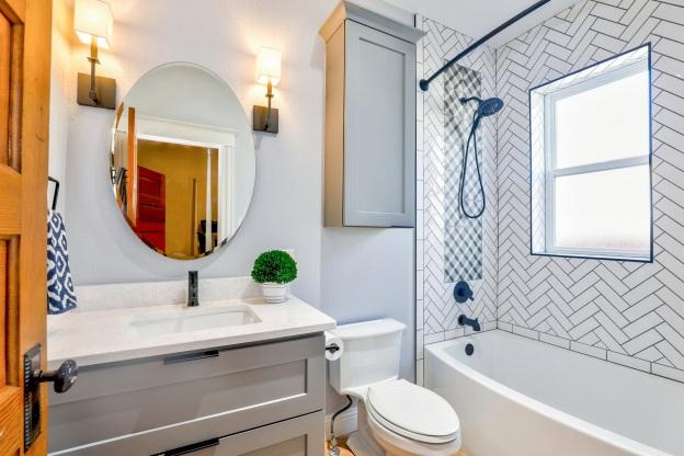 A white-themed bathroom