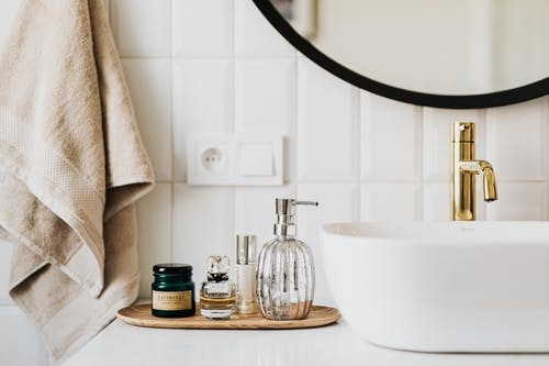 A bathroom remodeled with a new sink