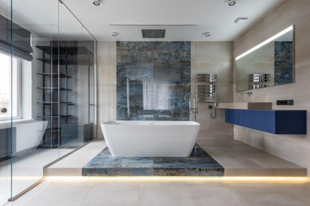 A refurnished bathroom with a bathtub