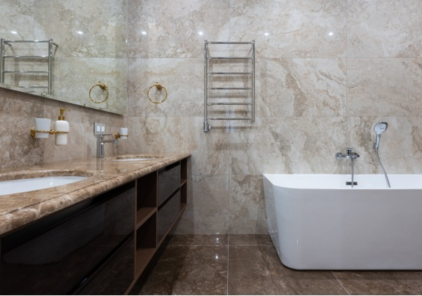 Bathroom with proper accessories and fixtures
