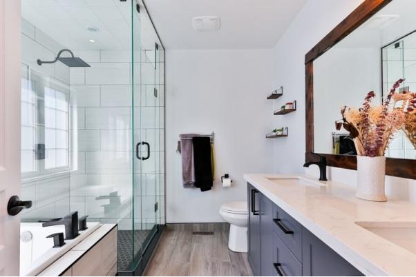 Clean bathroom with waterproof accessories