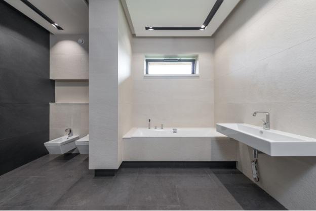 A walk-in bathtub
