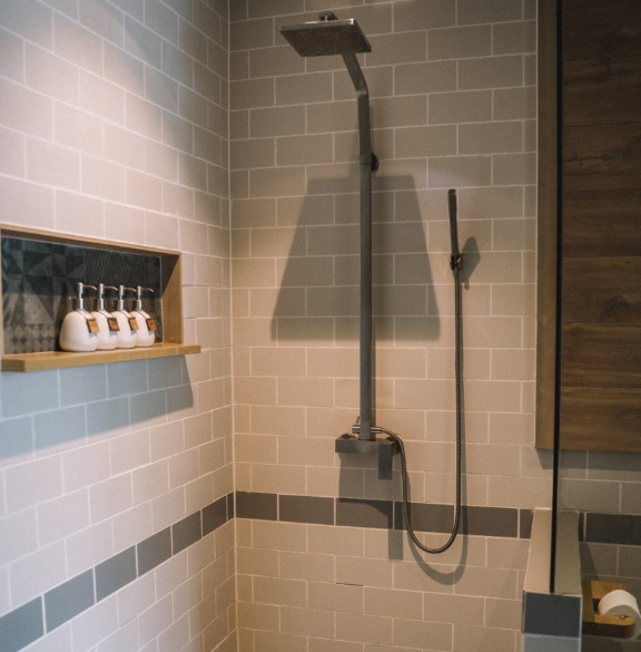 Shower in a newly renovated bathroom