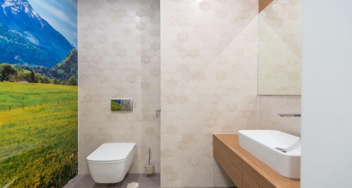 Bathroom with a nature wallpaper