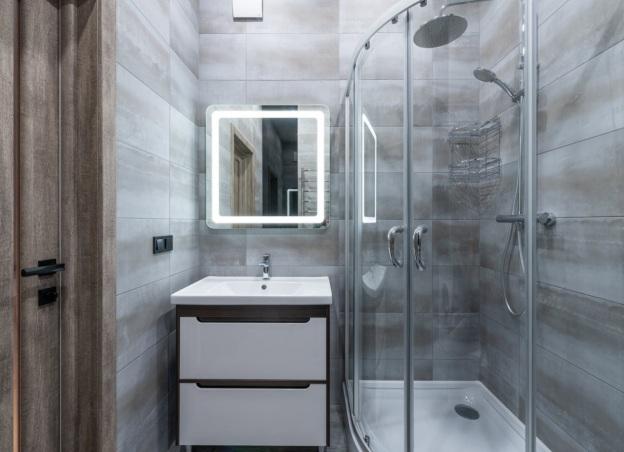 Bathroom interior with shower cabin in Brooklyn